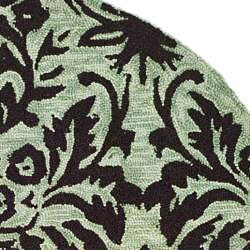 Safavieh Hand-hooked Damask Sage/ Chocolate Wool Rug (3' Round) - Thumbnail 1