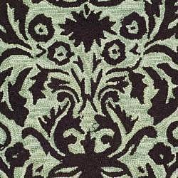 Safavieh Hand-hooked Damask Sage/ Chocolate Wool Rug (3' Round) - Thumbnail 2