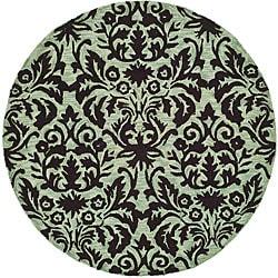 Safavieh Hand-hooked Damask Sage/ Chocolate Wool Rug (3' Round) - 3' x 3' - Thumbnail 0