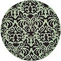 Safavieh Hand-hooked Damask Sage/ Chocolate Wool Rug (3' Round) - 3' x 3'