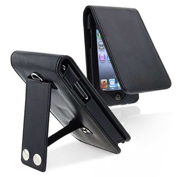 INSTEN Leather iPod Case Cover w/ Lanyard & Kick Stand for Apple iPod Touch G2
