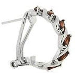 Glitzy Rocks Sterling Silver Garnet Half Hoop Earrings - Thumbnail 1