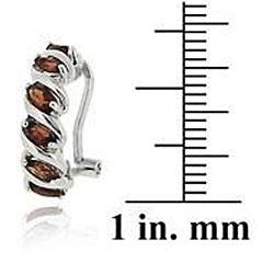Glitzy Rocks Sterling Silver Garnet Half Hoop Earrings - Thumbnail 2
