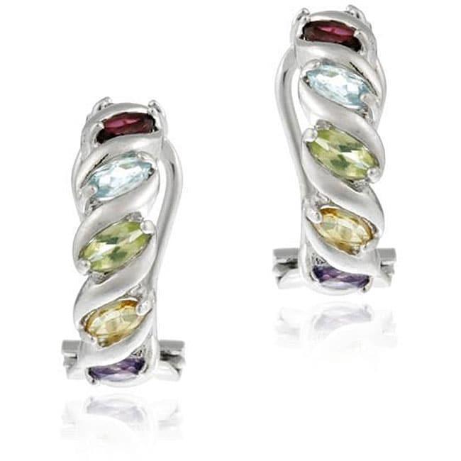 Glitzy Rocks Sterling Silver Multi Gemstone Half Hoop Earrings
