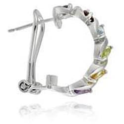Glitzy Rocks Sterling Silver Multi Gemstone Half Hoop Earrings - Thumbnail 1