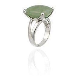 Glitzy Rocks Sterling Silver Square Green Jade Ring