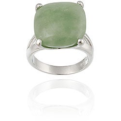 Glitzy Rocks Sterling Silver Square Green Jade Ring