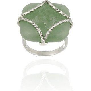 Link to Glitzy Rocks Sterling Silver Square Green Jade Braided Design Ring Similar Items in Rings