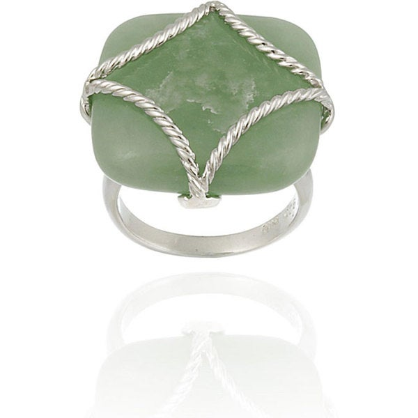 Glitzy Rocks Sterling Silver Square Green Jade Braided Design Ring. Opens flyout.