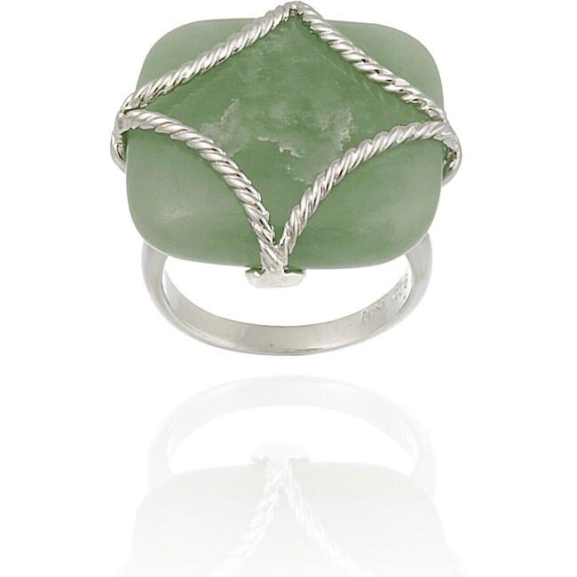 Glitzy Rocks Sterling Silver Square Green Jade Braided Design Ring