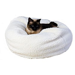 Natural Sherpa Puff Ball 18-inch Pet Bed w/Zipper Cover