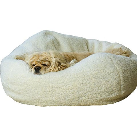 Natural Sherpa Puff Ball 26-inch Pet Bed