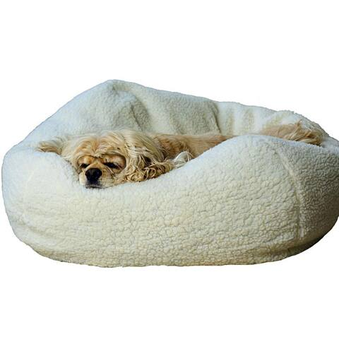 Natural Sherpa 32-inch Puff Ball Pet Bed w/Zippered Cover