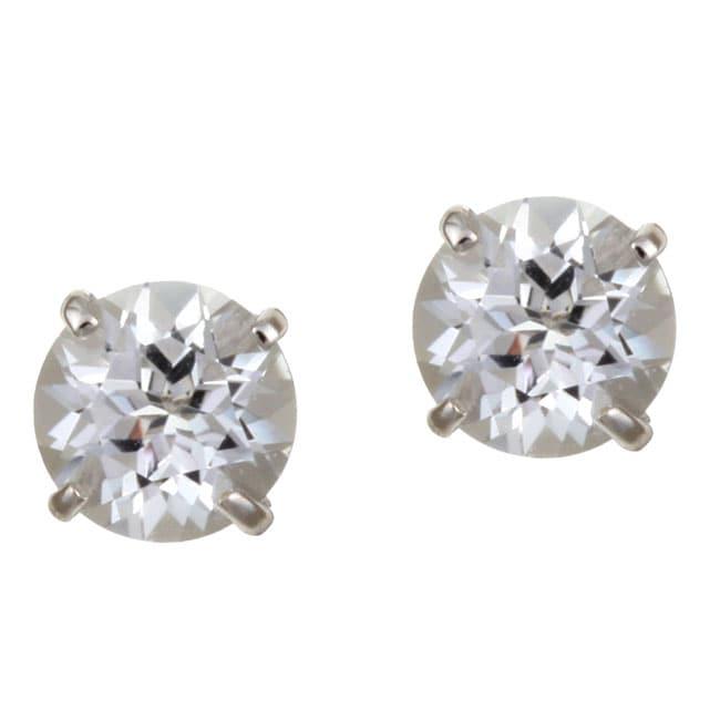 Kabella 14k White Gold Round White Topaz Stud Earrings