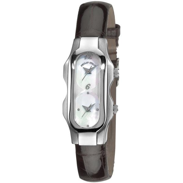 Philip Stein Teslar Women's Dual-time Brown Strap Watch