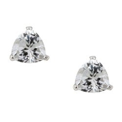 Kabella 14k White Gold Trillion White Topaz Stud Earrings