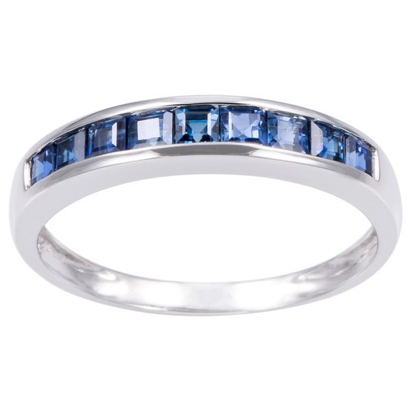 Anika and August 14K White Gold Channel-set Blue Sapphire Ring