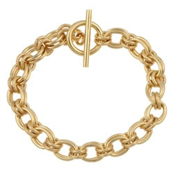 Sterling Essentials 14K Gold over Silver 7.5-inch Charm Toggle Bracelet