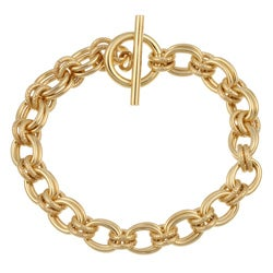 Gold Over Sterling Silver 7.5-Inch Charm Toggle Bracelet