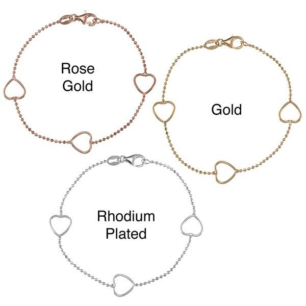 Sterling Essentials 14K Gold over Silver 7-inch Heart Station Bracelet