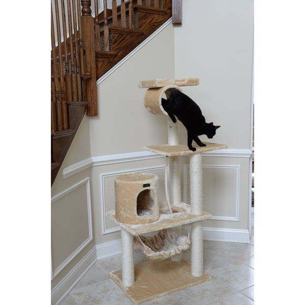 Armarkat Multi-Level Beige Single Condo Cat Tree with Hammock and Scratchers