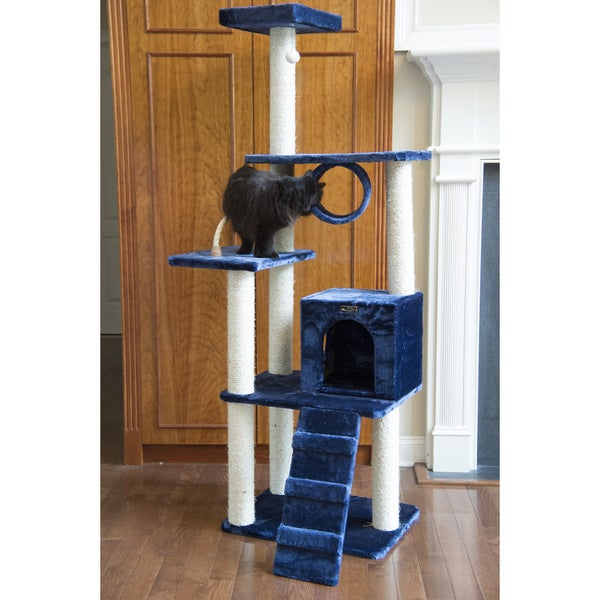 Armarkat Navy Blue Cat Tree With Ramp And Condo