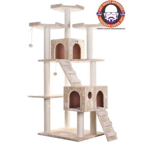 Armarkat 74-inch Beige Jungle Gym Cat Tree with 2 Condos