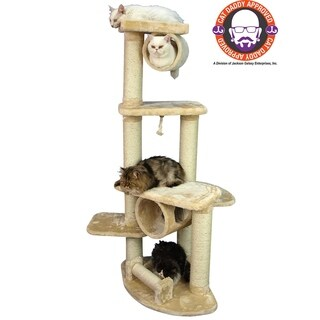 Armarkat Beige Jungle Gym Cat Tree Scratcher With Hanging Tunnel