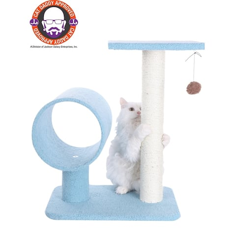 Armarkat Sky Blue Cat Tree With Tunnel and Scratcher