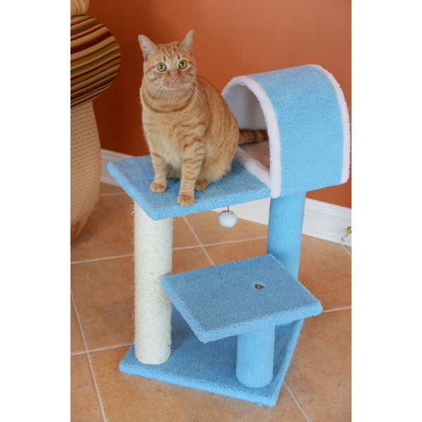 Armarkat 30-inch Sky Blue 2-Tier Cat Tree With Scratcher