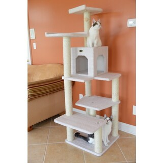 Armarkat Ivory Faux-fleece/Wood 68-inch Cat Tree Gym