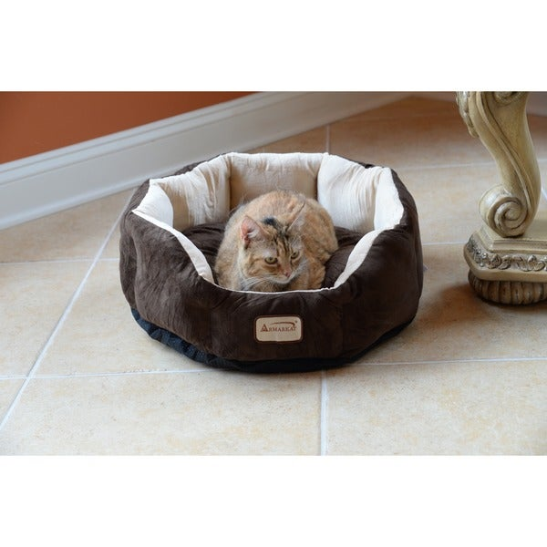Armarkat Cozy 20-inch Waterproof Base Mocha and Beige Pet Bed