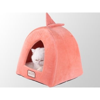 Armarkat Soft Plush and Velvet 14-inch Orange and Ivory Pet Bed/House