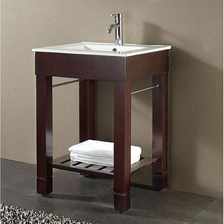 Avanity Loft 24-inch Single Vanity in Dark Walnut Finish with Sink and Top