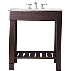 Avanity Loft 30-inch Single Vanity in Dark Walnut Finish with Sink and Top