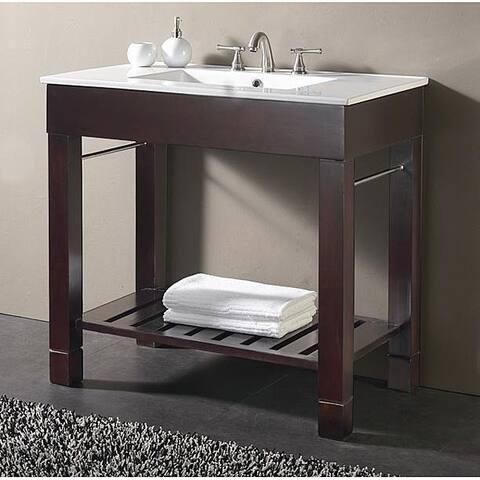 Avanity Loft 36-inch Single Vanity in Dark Walnut Finish with Sink and Top