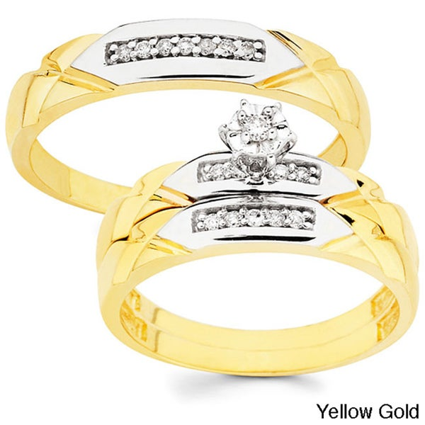 10k Gold 1/6ct TDW His and Her Diamond Wedding Ring Set (H-I, I1)