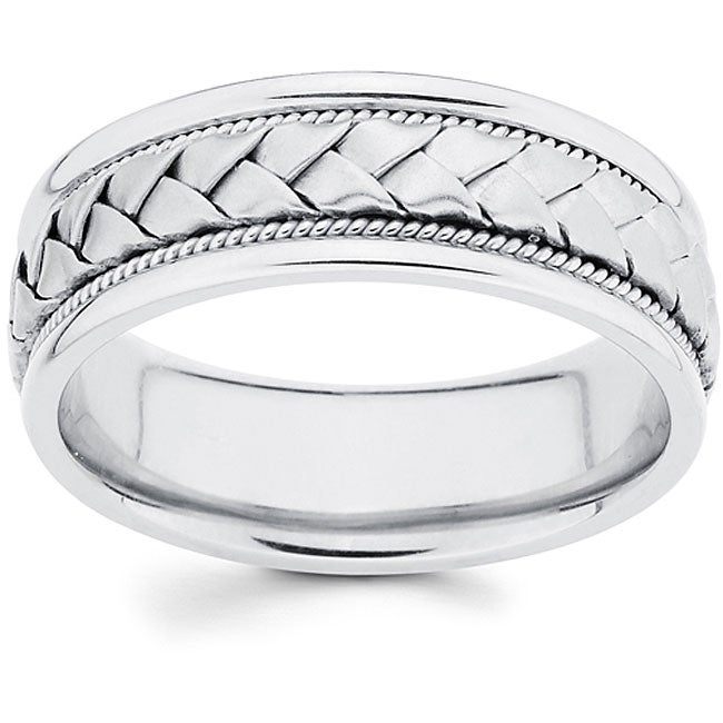 14k white gold mens hand braided comfort fit wedding band - Mens White Gold Wedding Ring