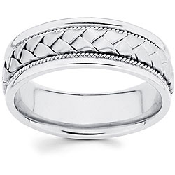 14k White Gold Men's Hand-braided Comfort-fit Wedding Band
