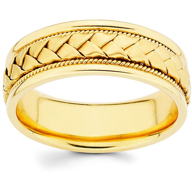 14k Gold 8 mm Hand-braided Comfort-fit Wedding Band (size 9-12.5)