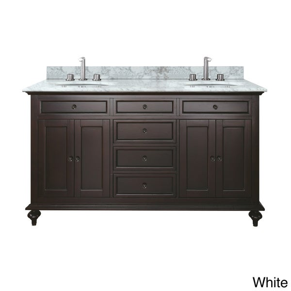 Avanity Merlot 60-inch Double Vanity in Espresso Finish with Dual Sinks and Top