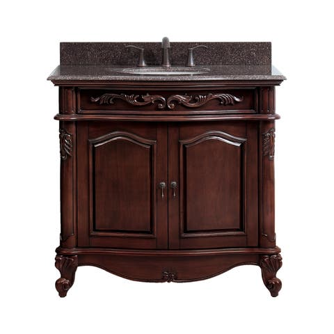 Avanity Provence 37-inch Vanity Combo in Antique Cherry Finish with Imperial Brown Granite Top