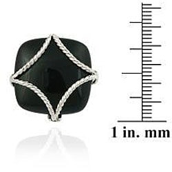 Glitzy Rocks Sterling Silver Square Onyx Braided Design Ring - Thumbnail 2
