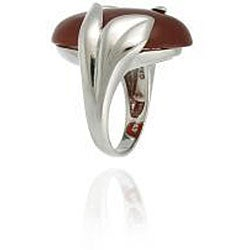 Thumbnail 2, Glitzy Rocks Sterling Silver Oval Red Jade Ring. Changes active main hero.