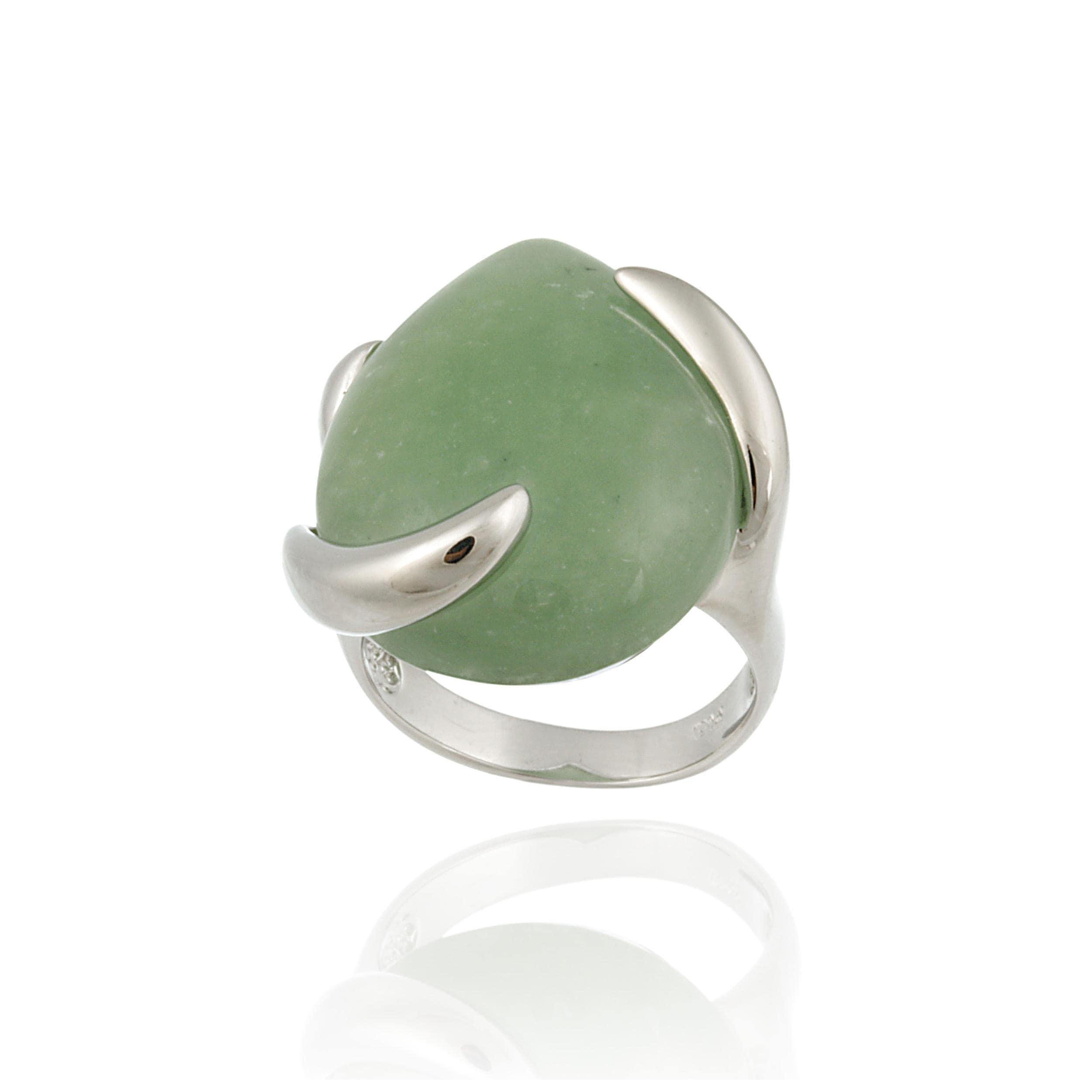 Glitzy Rocks Sterling Silver Pear-shaped Green Jade Ring