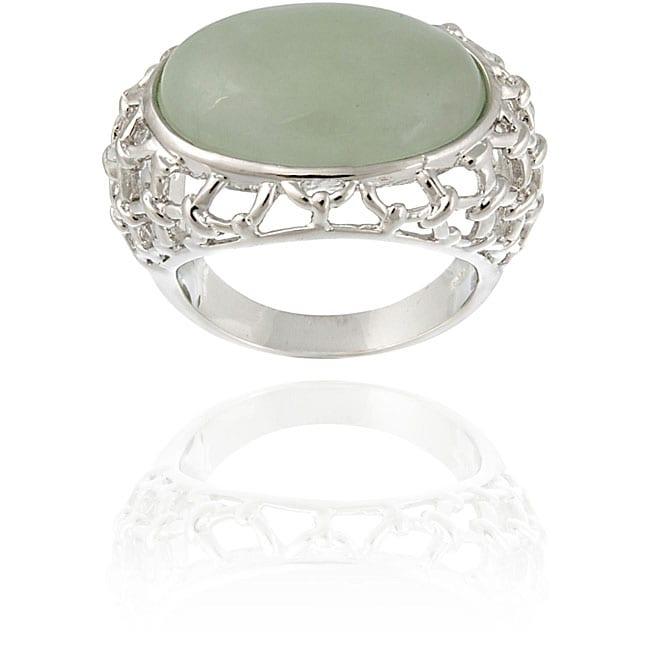 Glitzy Rocks Sterling Silver Oval Green Jade Openwork Design Ring