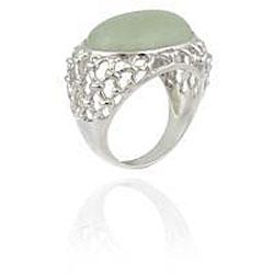 Glitzy Rocks Sterling Silver Oval Green Jade Openwork Design Ring - Thumbnail 1