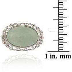 Glitzy Rocks Sterling Silver Oval Green Jade Openwork Design Ring - Thumbnail 2