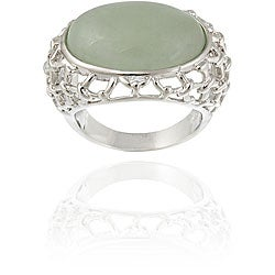 Glitzy Rocks Sterling Silver Oval Green Jade Openwork Design Ring