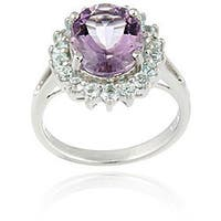 Glitzy Rocks Sterling Silver Amethyst and Blue Topaz Cocktail Ring